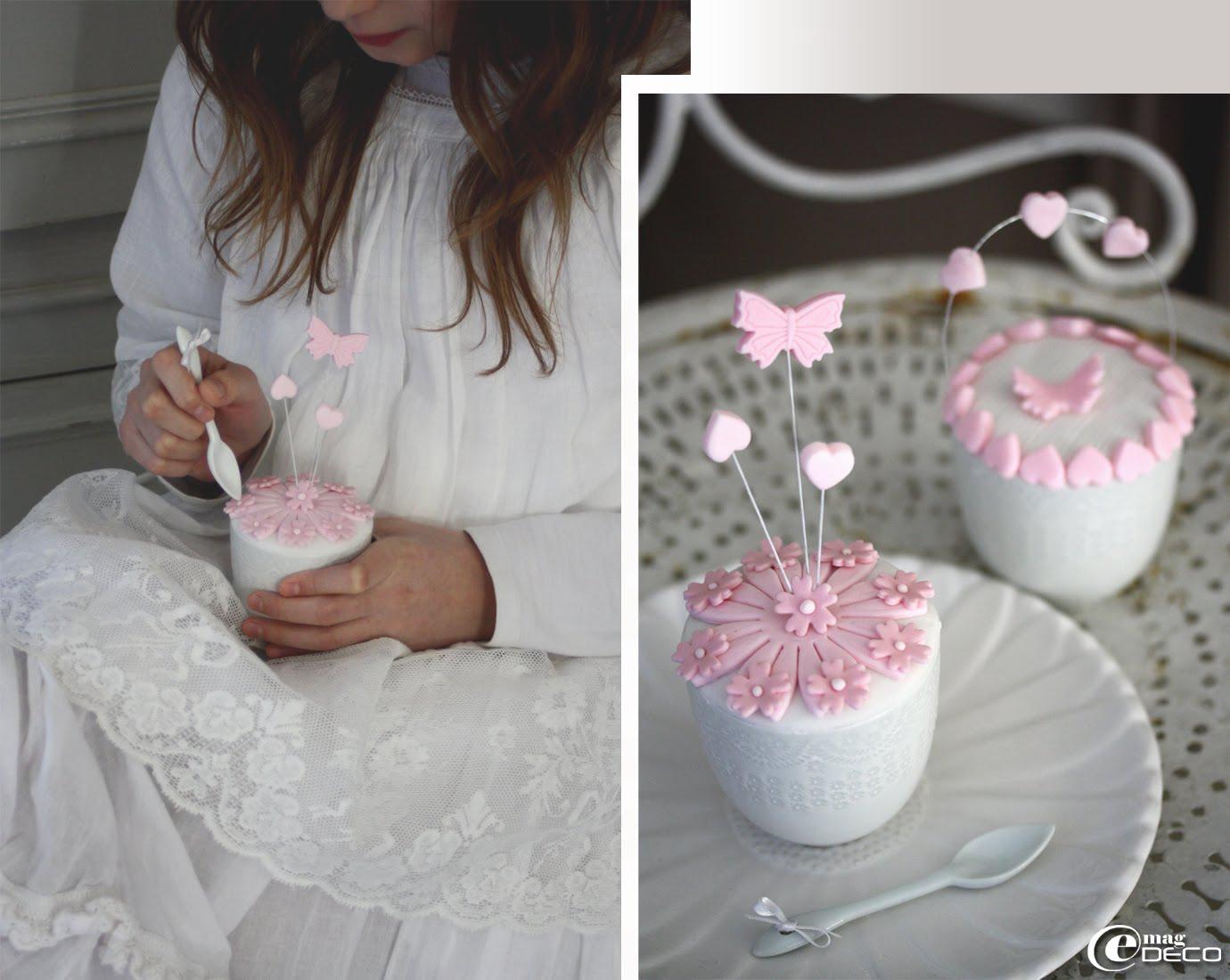Plusieurs propositions de décor de cupcakes en pâte à sucre, création Nina Couto