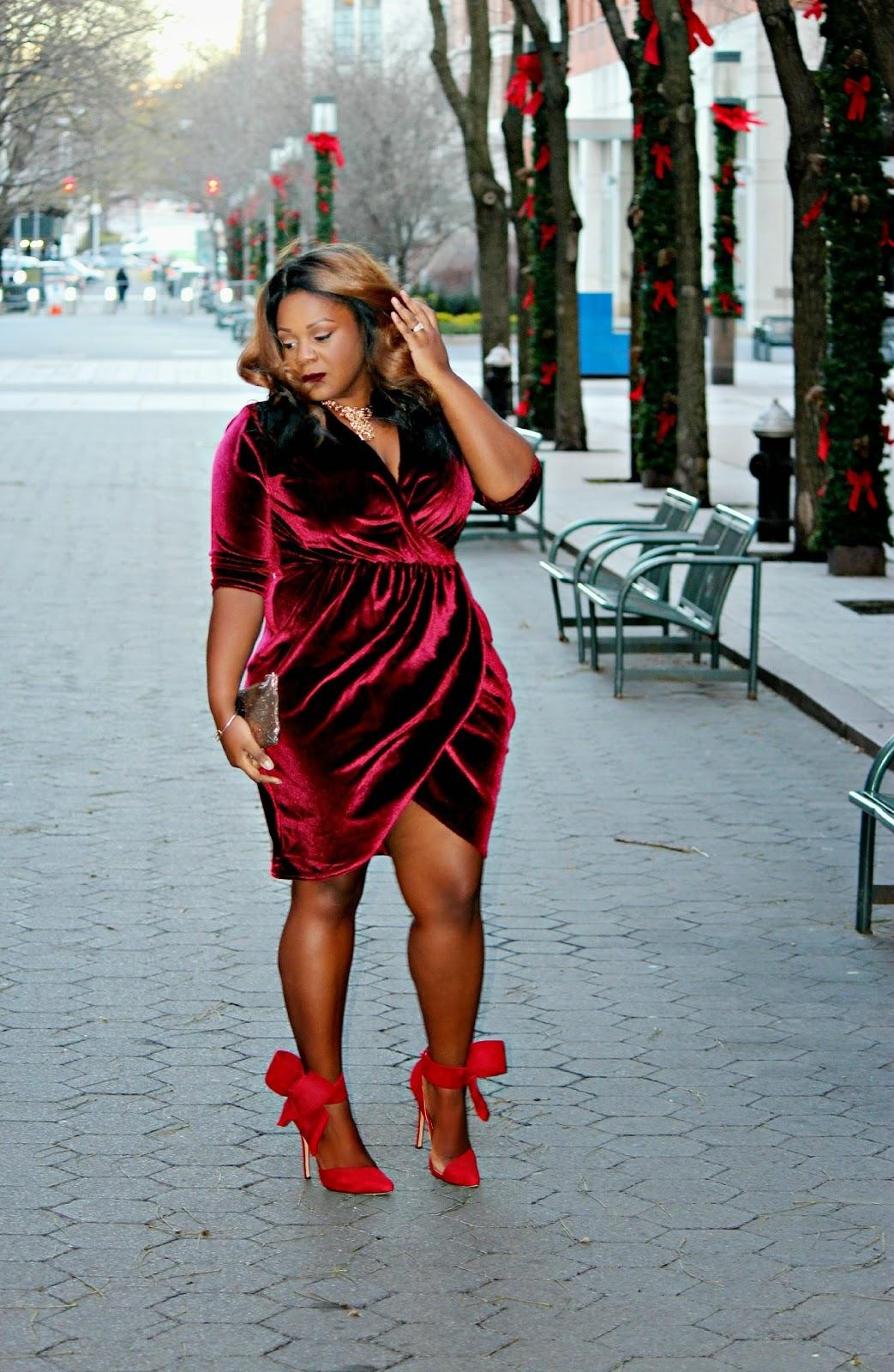 Plus Size Crushed Velvet wrap Dress