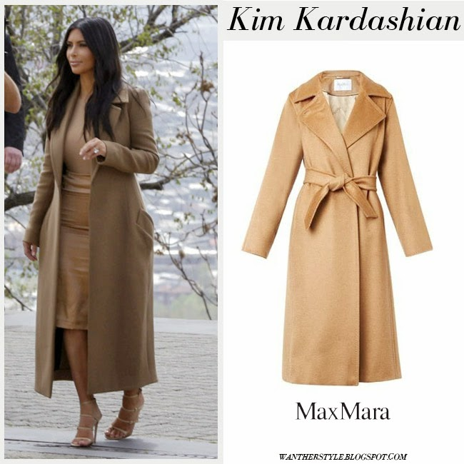 Kim Kardashian in camel wool long Max Mara Manuela coat with strappy sandals Gianvito Rossi want her style who designed it
