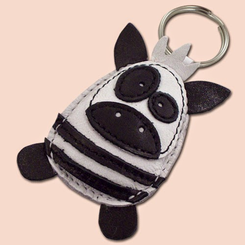 Zebra Leather Keychain on Etsy