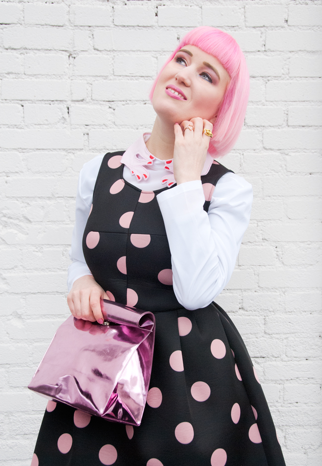 vivetta look, polka dot dress, hands collar