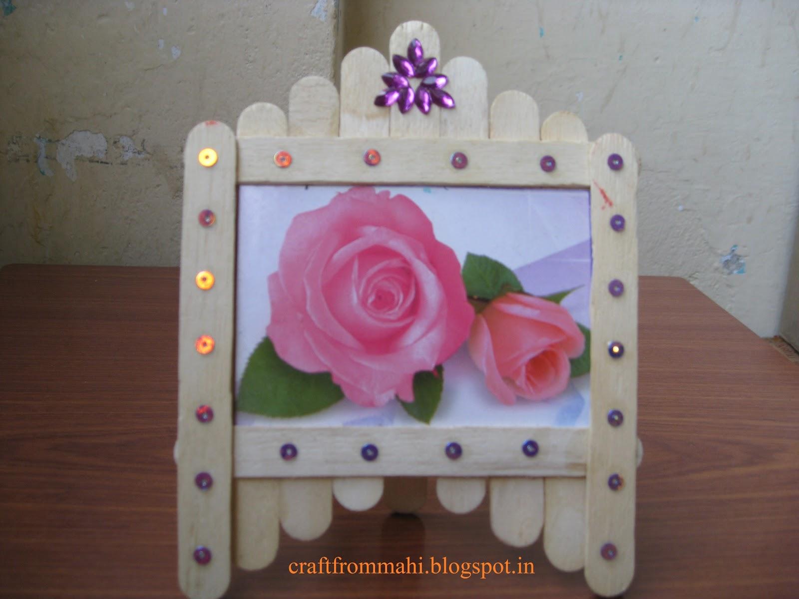 My interest photo frame using ice cream sticks for Ice cream sticks craft