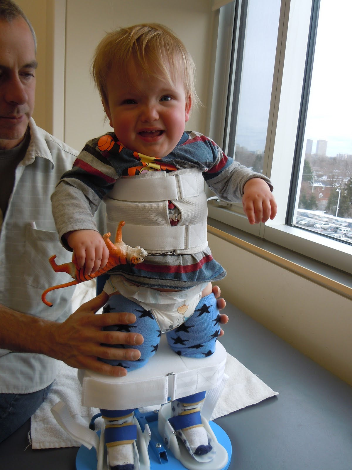 but when he started walking in his walker we stopped using the standing frame