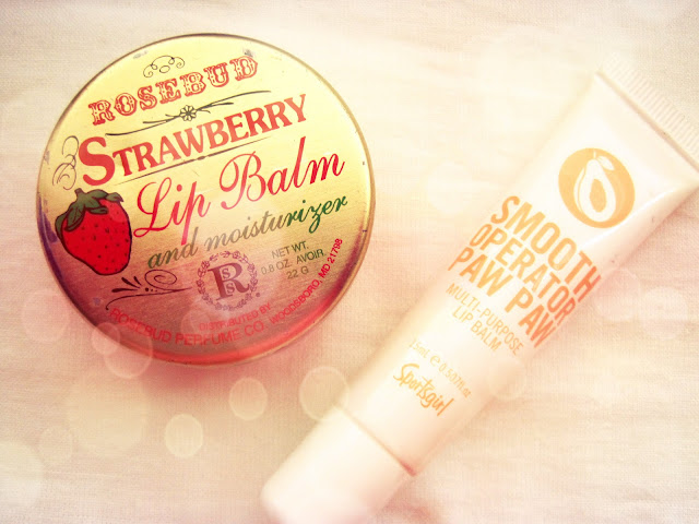 rosebud strawberry lip salve and paw paw smooth operator lip balm