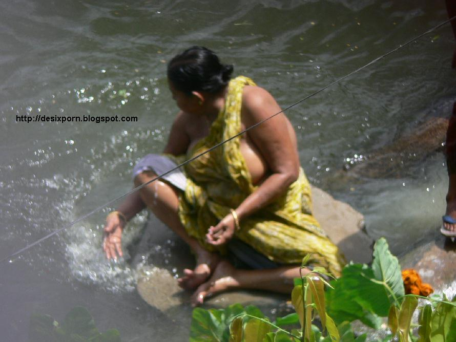 Meaty Old Aunty Bathing In River