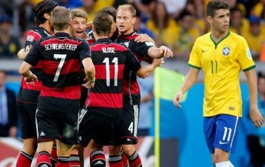 alemanes celebrando victoria sobre brasil mundial brasil 2014