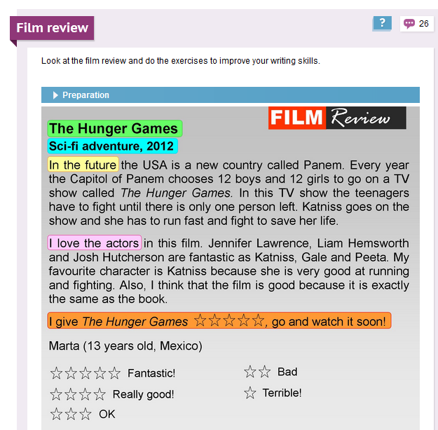 how to write a film review in english