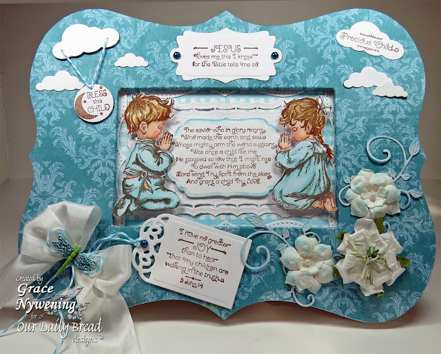 ODBD Stamps, Childrens Prayer, Precious Girl Precious Boy, Gingham Background, designed by Grace Nywening