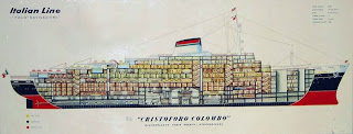 Cutaway Drawing of Italian Line's  Christoforo Colombo.