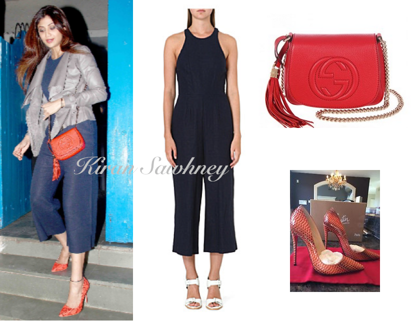 Shilpa Shetty Outside Olive in Whistles jumpsuit 1
