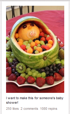 baby shower, fruit salad baby basket, party food
