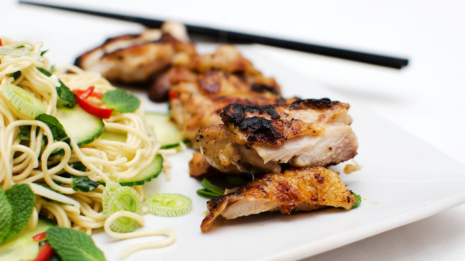stuart webster photography: Spicy chicken thighs with cucumber salad