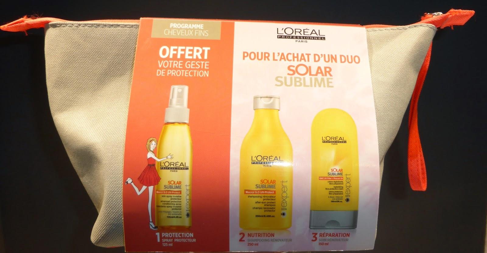 Gamme solaire Solar Sublime de L'Oréal, avec son élégante trousse de toilette.