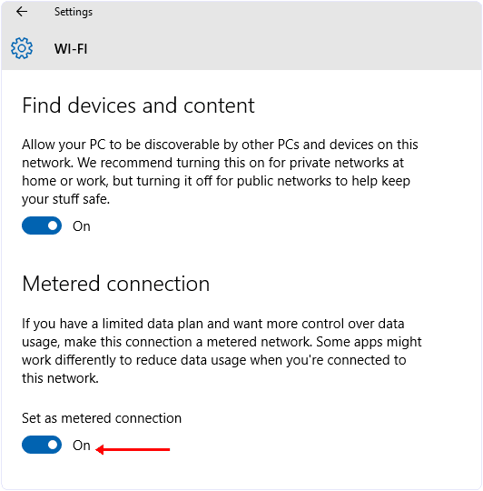 Stop Windows 10 updates setting meter connection