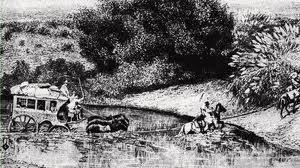 Diligencia vadeando un río. -Circa 1860-