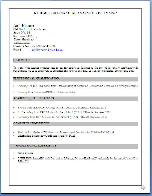 best resume format for freshers download freshers - Best Resumes Format