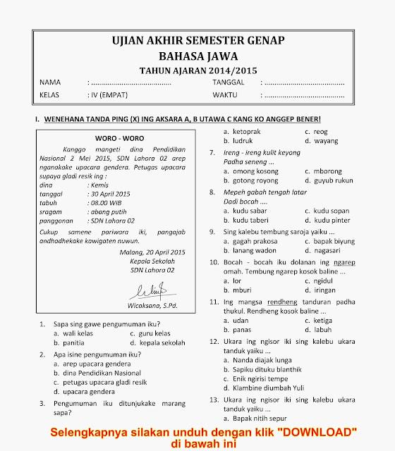 Download Soal Ukk Uas Genap Bahasa Jawa Kelas 4 Semester 2 Tahun 2015 Rief Awa Blog
