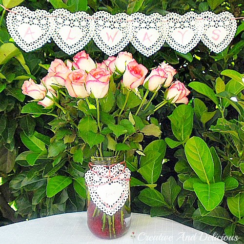 Valentines Doily Banner and Vase www.withablast.net