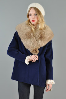 Vintage 1950's navy blue wool swing coat with fox fur collar