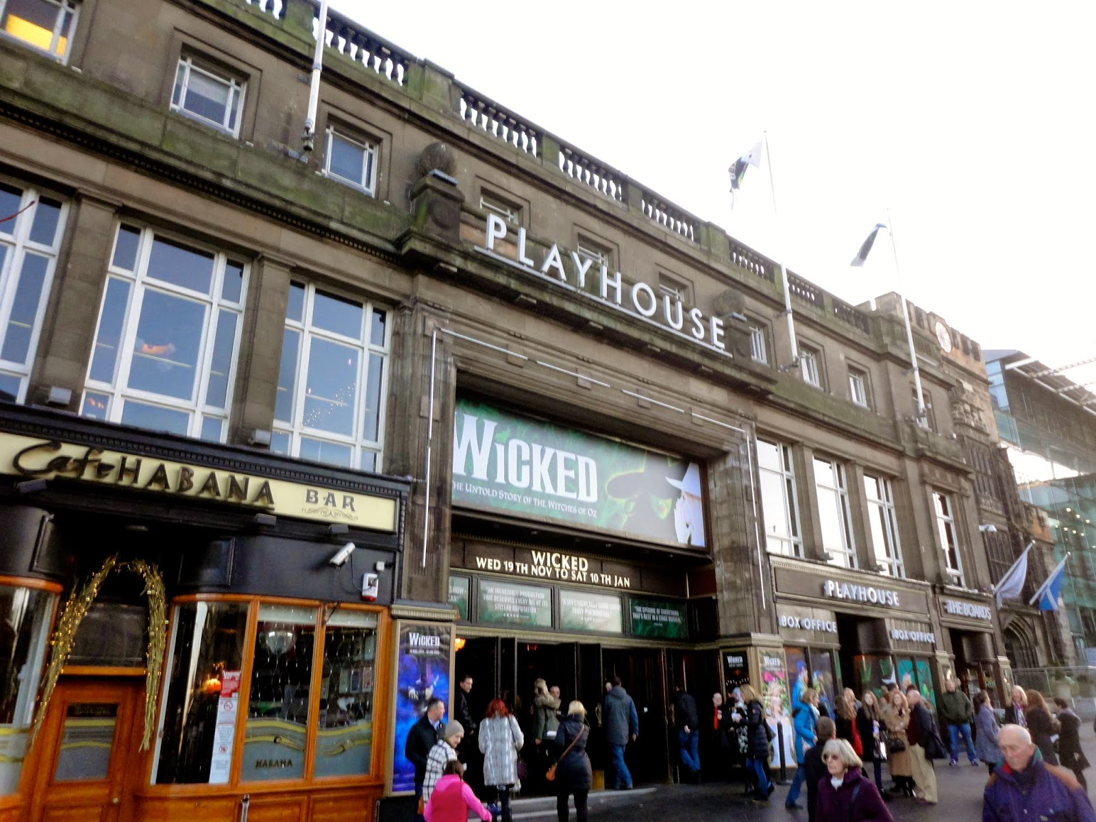 Exterior of Edinburgh Playhouse theatre, showing Wicked the Musical