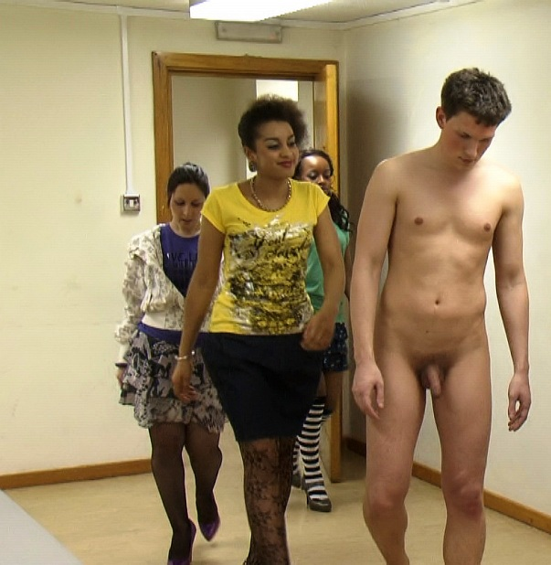 naked guy clothed girls humiliation