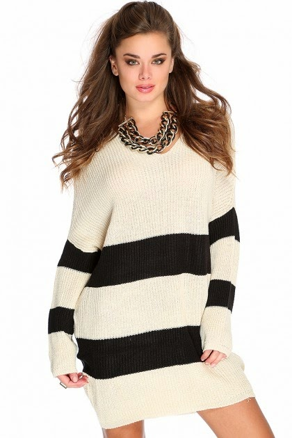 AMI Clubwear Striped Sweater Dress