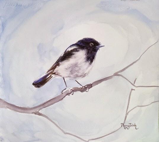 Beautiful Original Watercolor Painting Birds and Plants
