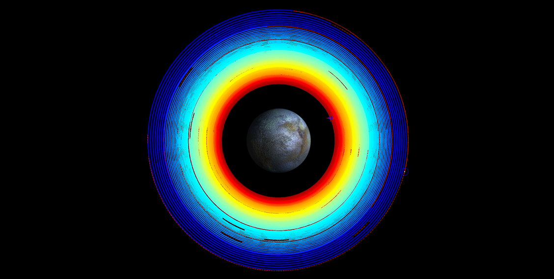 This image illustrates Dawn's spiral transfer from high altitude mapping orbit (HAMO) to low altitude mapping orbit (LAMO). The trajectory turns from blue to red as time progresses over two months. Red dashed sections are where ion thrusting is stopped so the spacecraft can point its main antenna toward Earth. Image credit: NASA/JPL-Caltech