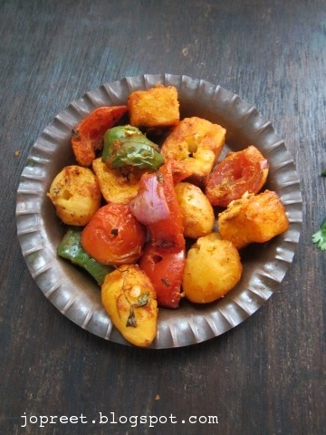 Baby Potato & Paneer Tikka in Oven