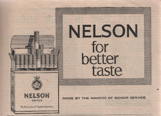 Vintage advertisement for Nelson cigarettes, c.1960's