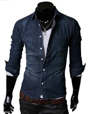 Kemeja pria murah grosir dan eceran pasar klewer Jakarta Bahan Semi Jeans