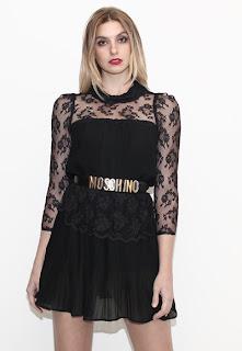Vintage 1970's black lace mini long-sleeved dolly dress.