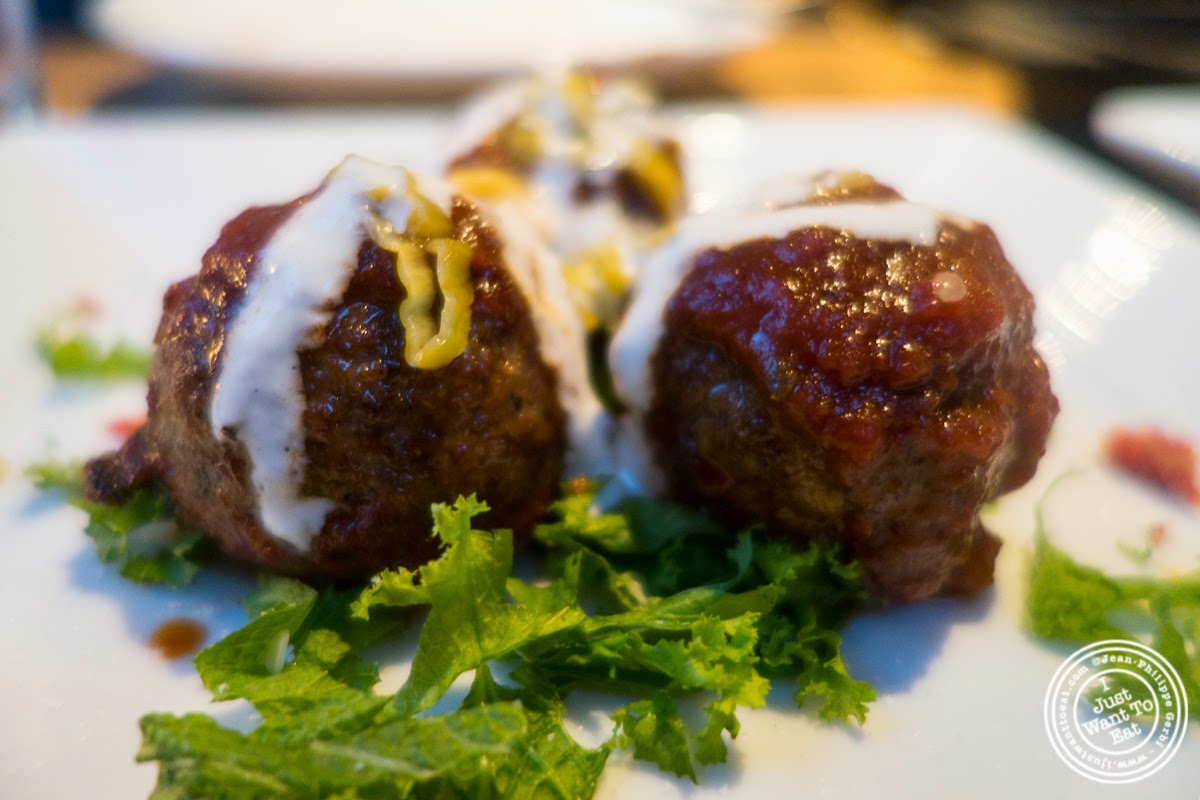 image of pork and lamb meatballs at Snack EOS in Hell's Kitchen, NYC