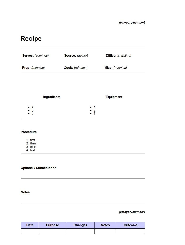 recipe template word