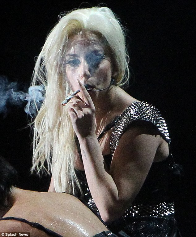 Pictures of lady gaga smoking weed on stage