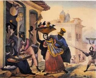 A pintura Cena de Carnaval, de Jean Batiste Debret, retrata como eram os entrudos no Brasil no século 17