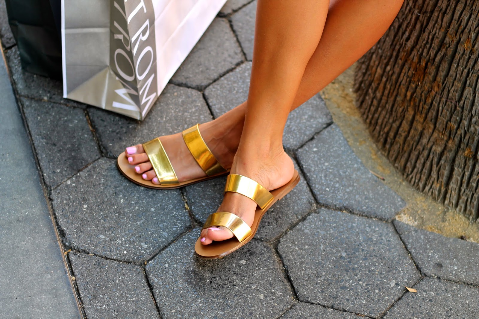 j crew sandals, slides, gold sandals, how to wear slides, summer outfit