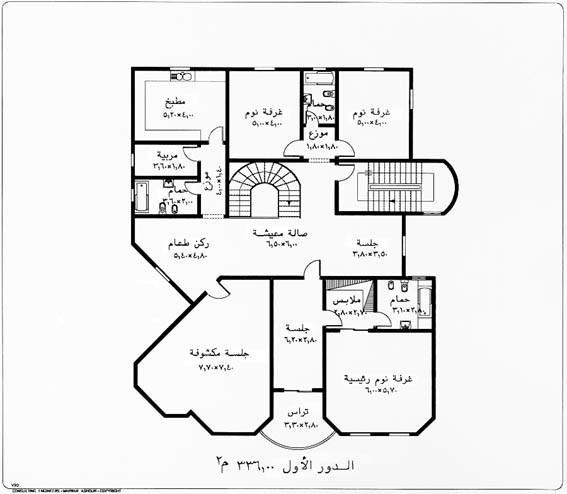 فلل متوسطة المساحة تصميم فلل مساحة638م مخطط تفصيلي فيلات مخططات فلة بدورين خرائط
