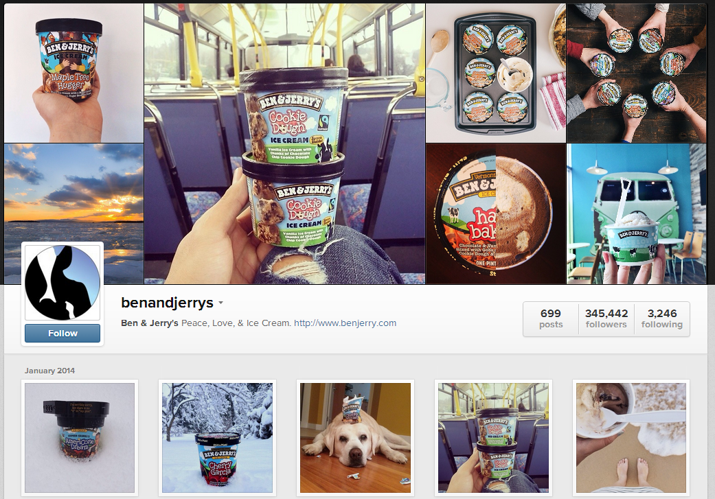 Ben & Jerry's Instagram profile