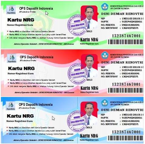 Aplikasi Kartu NRG/Nomor Registrasi Guru