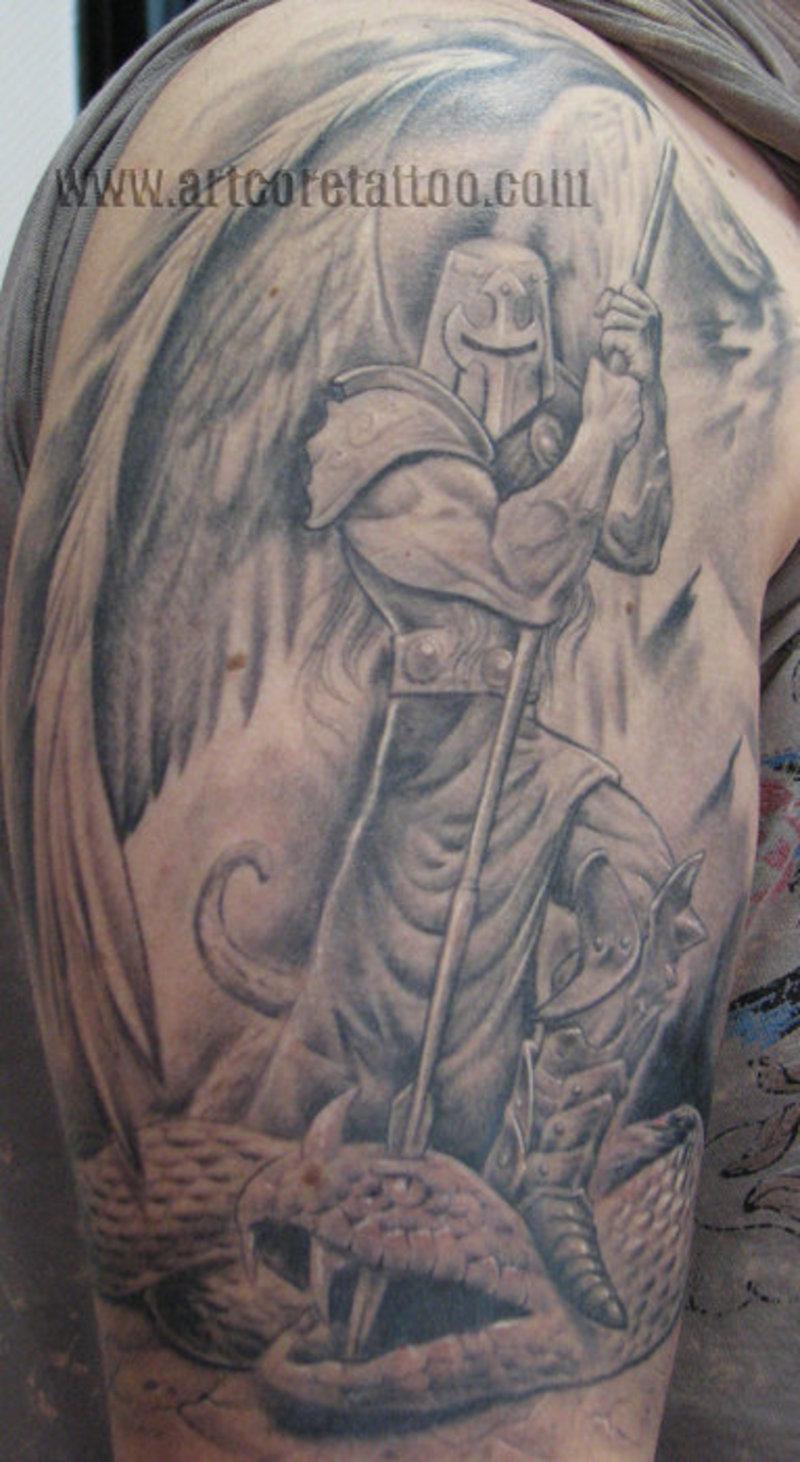 Тату на плече мужские фото с ангелом