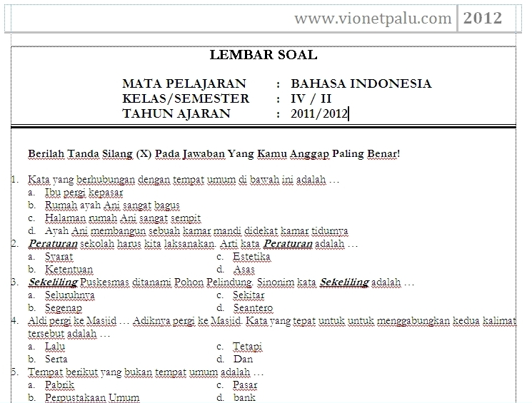 Download Soal Bahasa Indonesia Kelas Sd Semester Genap