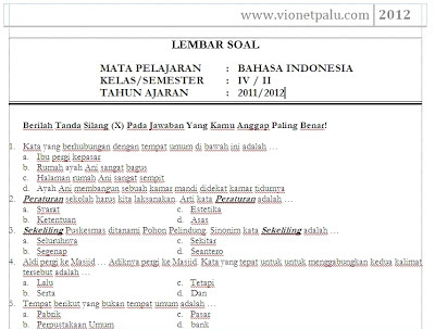 Download Soal Bahasa Indonesia Kelas 4 SD Semester Genap 2 .