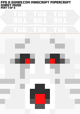 Printable Minecraft ghast mask papercraft template