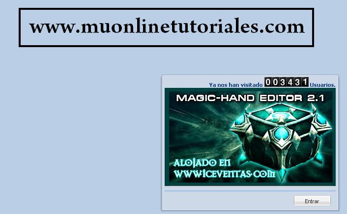 Interfaz de ingreso al magic hand editor