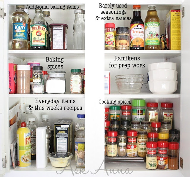 Stack up spices in your cupboard :: OrganizingMadeFun.com
