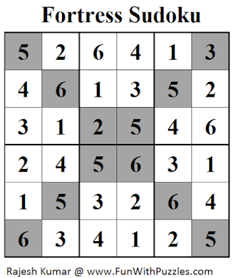 Fortress Sudoku (Mini Sudoku Series #28) Solution