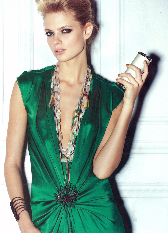 Julia Stegner wearing Lanvin by Alber Elbaz dress in Vogue US 2004