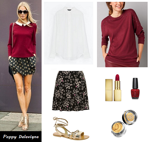 Poppy Delevigne burgundy jumper