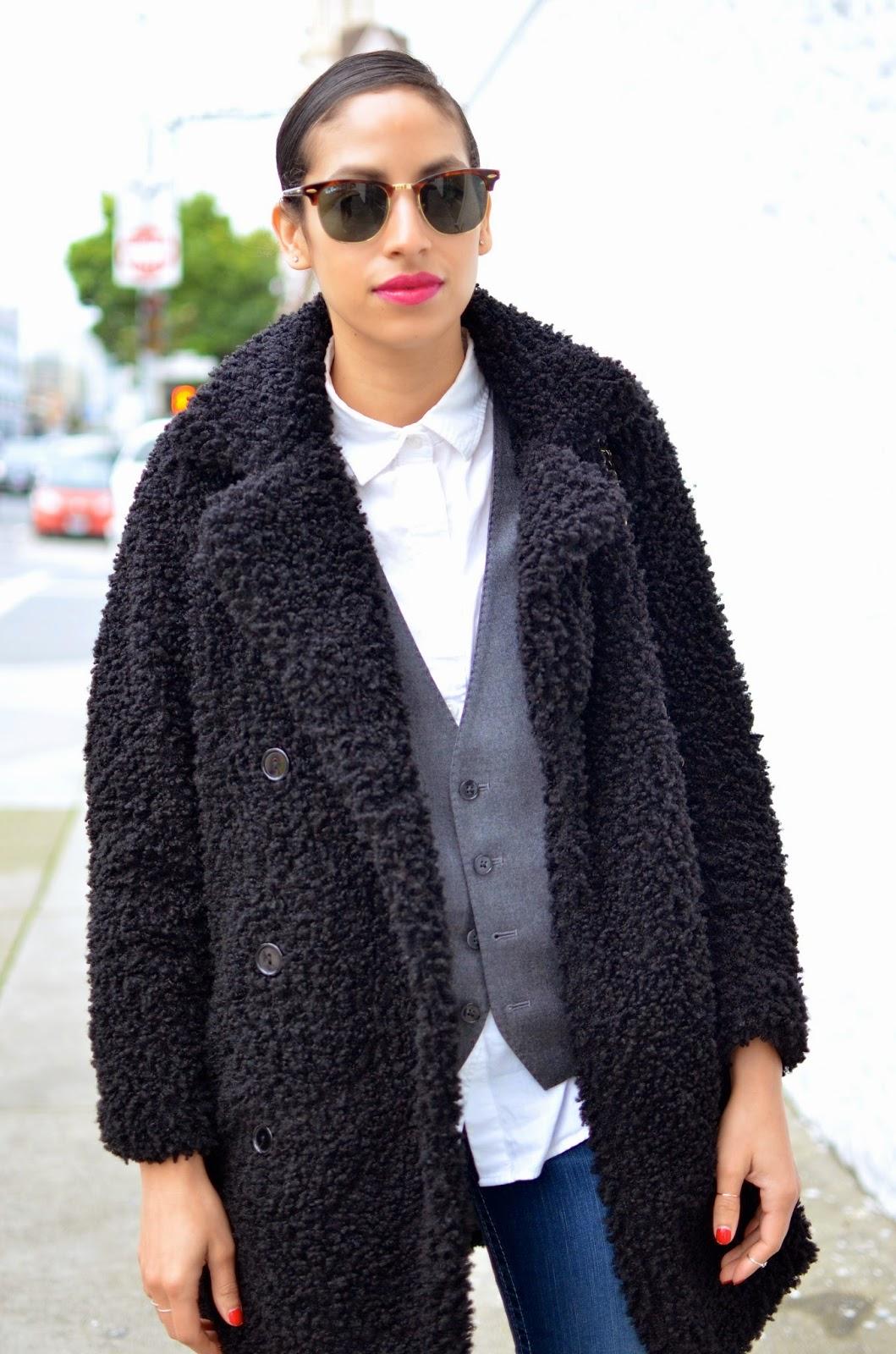 OOTD, denim, True Religion denim, Missguided, black furry coat, menswear trend, Chanel lipgloss, San Francisco style
